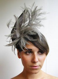 fascinator with soft, grey feathers