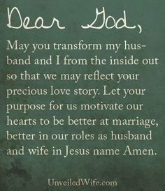 Prayer Of The Day – Purpose For Marriage --- Dear Lord, Thank you so much for my marriage. I pray that you would continue to reveal to my husband and I the purpose for our marriage. We desire to pursue your purpose for us. Holy Spirit may [...]… Read More Here http://unveiledwife.com/prayer-of-the-day-purpose-for-marriage/ #marriage #love