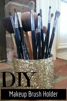Easy DIY Makeup Brush Holder! Perfect for girly girls, and makeup lovers. Easy to make and customize.