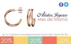 ¡Bellas argollas de oro y plata rosada para consentir a mamá! Del 2 de mayo al 30 ¡Te esperamos! #Mayo #Promociones #Oro #Descuentos #Moda #Diseños #Plata #Regalos #Diamantes #Elegancia #Amor