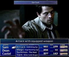 """Eye f*ck"": Castiel's attack of choice. #Supernatural #Funny"