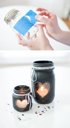 Decorating with Mason Jars • Lot's of creative ideas and tutorials, including this DIY chalkboard mason jar candles by 'Heart Love Always'!