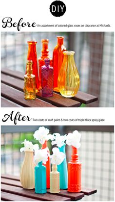 une couche de gesso, deux couches de peinture acrylique et trois couches de de vernis en bombe font des bouteilles obsolètes des ensembles déco à moduler selon les couleurs choisies…  (via Ashley In DC: Painted Vases - Before and After)