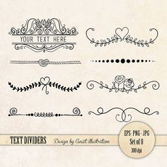 Text dividers - text divider clip art - page divider - flourishes clip art - Vector - EPS - PNG - Commercial use
