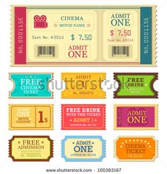 vector illustration of set of different movie ticket by stockshoppe, via ShutterStock