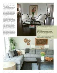 May/June 2013 Issue | Zenporium products accent the living room  of Rocky River Green Home #RRGH - Organic Spa Magazine  Gembol Teak Bowl, Tea Tree Branch, Dulo Wall Decor and Artek Tula Wall Decor. Tracy Lee, Rocky River, Tea Tree, Tree Branches, Teak, June, Wall Decor, Organic, Couch