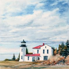 Admiralty Head Lighthouse watercolor by Thomas A Needham