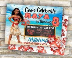Moana birthday party invitations luau theme for by CandiceCards