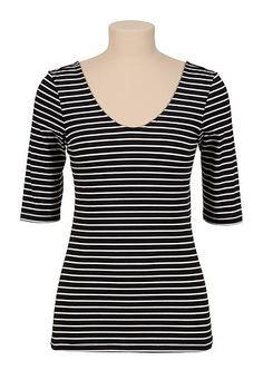 Striped elbow sleeve ballet tee (original price, $20) available at #Maurices