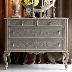 High End Ornate Grey Italian Chest of Drawers
