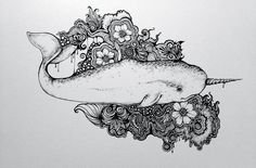 Narwhal Art Print by Isabel Peace I Tattoo, Narwhal Drawing, Kunst Tattoos, Fraggle Rock, Skin Art, New Tattoos, Tatoos, Tattoo Inspiration, Sculpture