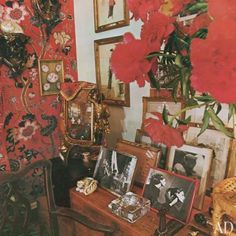 Diana loved Peonies and we love her collection of pictures and objects on the table above.  The two sketches on the wall are by Christian Bérard and one is of Vreeland herself.