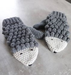 Mittens Crochet Patterns – Great Cozy Gift - A More Crafty Life Crochet Mittens Pattern, Crochet Gloves, Knit Crochet, Crochet Patterns, Crochet Hedgehog, Crochet Baby Blanket Beginner, Fingerless Mitts, Crochet Accessories, Baby Patterns