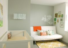 Sleek Modern Baby Room Ideas White Sofa Grey Painted Wall
