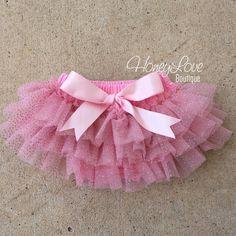 Pink gold glitter ruffle tutu skirt bloomers, diaper cover, ruffle bottom bloomer, newborn infant toddler baby girl take home hospital by HoneyLoveBoutique