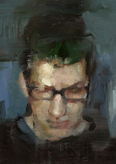Artist: Tyler Graffam, oil on canvas {contemporary art male head eyeglasses man face portrait smudged painting} Art And Illustration, Illustrations, Figure Painting, Painting & Drawing, Paintings I Love, Art Plastique, Portrait Art, Love Art, Figurative Art