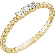 Gold and Diamond Beaded #Ring
