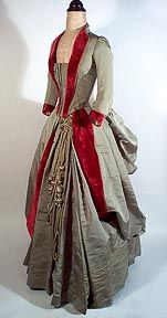 ca. 1885 Sage green silk and Cherry Red velvet gown.