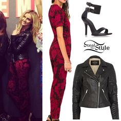 Perrie Edwards: Printed Jumpsuit, Leather Jacket | Steal Her Style
