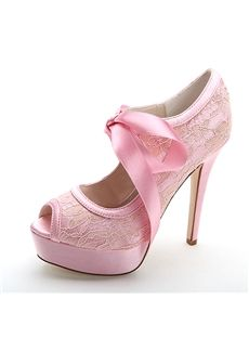 Lace Bowtie Peep-Toe High Heel Wedding Shoes