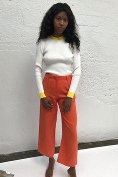 JUST FEMALE   Kamma Knit - Bright White / Yellow Stripe