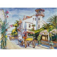Anatolian 1000 Parça Puzzle Büyükada-Dönüş Yolu - Anatolian - ANT03123 Step By Step Watercolor, Vintage Pictures, Beautiful Landscapes, Painting Inspiration, Istanbul, Decoupage, Art Gallery, Drawings, Illustration
