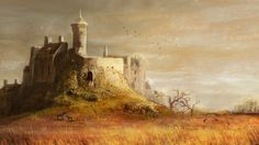 Medieval Castle Hill Towers Trees Grass Horses 449581