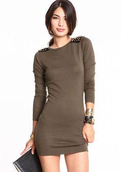 Studded Sweater Knit Dress
