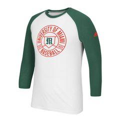Miami Hurricanes adidas Baseball Raglan Go/To T-Shirt - White