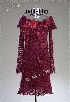 Dress…The Secret Garden…˚~ Freeform …Knitting & Crochet Flower, tree, Folktales…………………… Designed by Jung Hwa Yoo……. Bohemian Maternity Dress, Maternity Dresses, Knitting Daily, Knitting Yarn, Knit Dress, Crochet Dresses, Knitting Magazine, Wedding Gowns, Knitwear