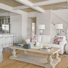 Shiplap living room white living room wall ideas for beach house rooms coastal shiplap feature wall . Coastal Living Rooms, Living Room White, My Living Room, Small Living, Barn Living, Modern Living, Style At Home, White Shiplap, White Beams