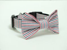 Seersucker Dog Collar Bow Tie set by ThePamperedPooches on Etsy, $19.00