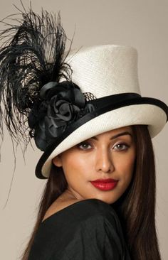 White with black feather   band Women In Hats e29230bb8d6