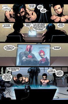 Hahahaha! this is actually so funny!!Batman and Robin #6 (Dick Grayson and Damian Wayne)