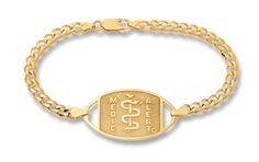 9ct Gold Curb Chain Bracelet - Standard Emblem   Australia MedicAlert Foundation  #medicalert #medical_ID #medical_bracelet #safety