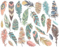 Tribal Feathers Clipart - Set of 31 Vector, PNG & JPG Files - Unique, Beautiful Boho Feather Clip Art in Coral, Navy, Mint and Gold Clip Art Plume, Feather Clip Art, Arrow Feather, Feather Vector, Tribal Feather, Tribal Arrows, Drawing Clipart, Woodland Critters, Vector Clipart