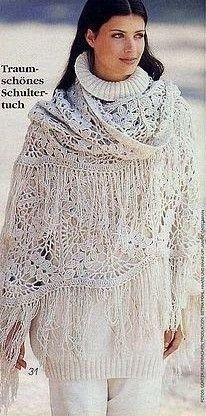 White Large Squares Shawl free crochet graph pattern