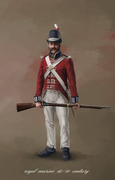 illustration of old British uniform from Napoleonic wars era. I have constant troubles to make those uniforms cool and not having the soldiers look like. British Royal Marines, British Soldier, British Army, British Royals, Royal Navy Uniform, Military Ranks, British Uniforms, Navy Marine, The Old Republic