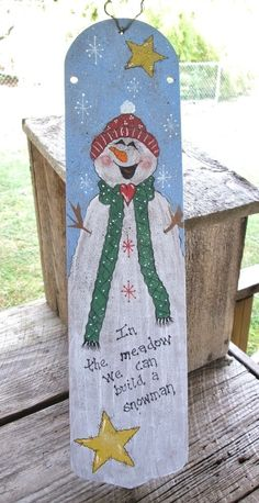 "HP Handpainted Recycled Ceiling Fan Blade Snowman w/Stars ""In the Meadow"" Christmas Wood, Christmas Signs, Diy Christmas Ornaments, Outdoor Christmas, Christmas Snowman, Christmas Projects, Christmas Holidays, Snowman Crafts, Holiday Crafts"