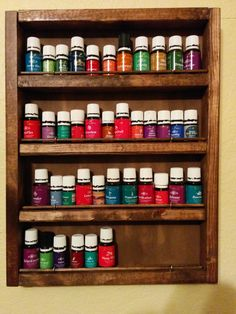 We had our essential oils all over the house. It was hard to find the one we wanted when we needed it. So I designed this wood rack to hang on our bedroom wall for my wife and kids. It holds about 40-50 bottles depending on the sizes. The bar in front doesn't cover up the labels either. Inside dimension of rack measures 12 in wide x 16 in tall x 1.75 deep. Mounting brackets included and easy to install using two toggle mounts. No international shipping.