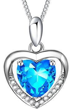 Floray Cristal Collares Corazón Colgante plata esterlina Cadena 45cm