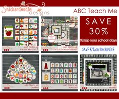 The ABC teach me collection by #SnickerdoodleDesigns was designed to allow to you create a unique and personalized scrapbook in about an hour. Save 30% on individual pieces or 67% on the bundle.  #digitalscrapbooking #theStudio
