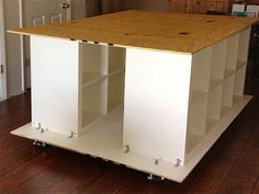 Craft Table with Storage with white