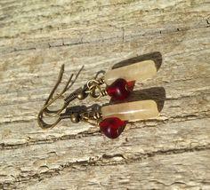 Simple Bronze Dangle Earrings Handmade Jewelry by WeitzelDesign