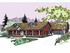 Four Bedroom Farmhouse (HWBDO56791) | Farmhouse House Plan from BuilderHousePlans.com (make shop the studio?)