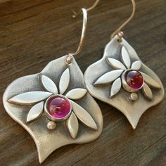 Sterling PMC garnet earrings