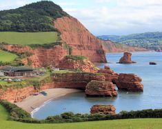 Ladram Bay, Devon, England with High Peak and Big Picket Rock beyond and Sidmouth in the distance. Devon England, Devon Uk, Devon And Cornwall, Oxford England, Yorkshire England, Yorkshire Dales, London England, South Devon, Visit Devon