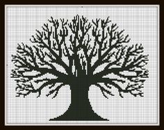 Cross Stitch Pattern Black Tree pattern by SilhouetteCentral