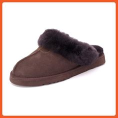 Sheep Touch Women's Classic Twin-Face Sheepskin Slippers Chocolate Size 9 - Slippers for women (*Amazon Partner-Link)