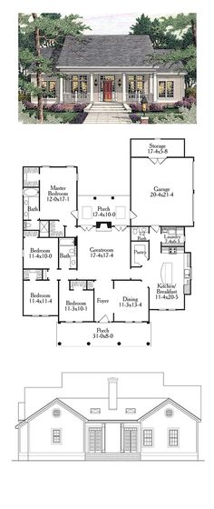 Colonial Style COOL House Plan ID: chp-34123 | Total Living Area: 1997 sq. ft…